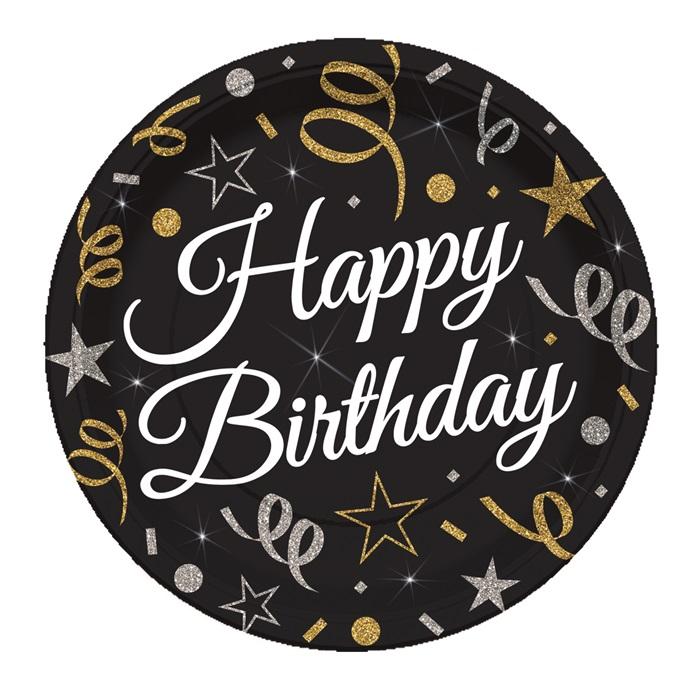 Konfeti Temalı Happy Birthday Karton Tabak