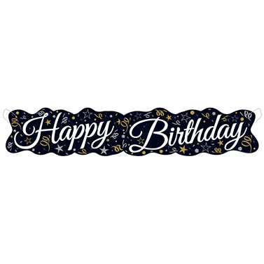Konfeti Temalı Happy Birthday Banner Yazı