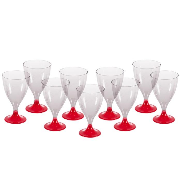 Kırmızı Ayaklı Şarap Bardağı