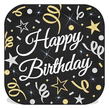 Konfeti Temalı Happy Birthday Temalı Kare Karton Tabak