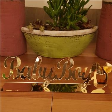 Pleksi Gold Baby Boy Masa Süsü