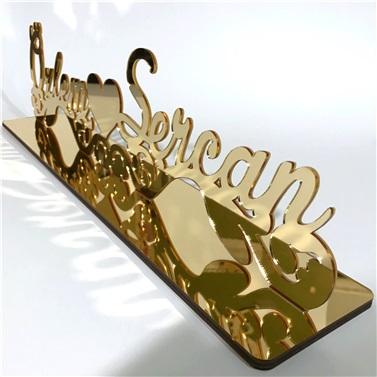Pleksi Ayna GOLD İsimlik