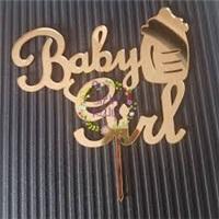 Pleksi Baby Gırl Gold Pasta Süsü