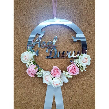 İsme Özel Pleksi Çiçekli Kapı Süsü