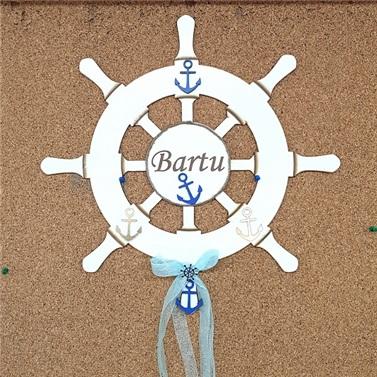 Ahşap Denizci Dümeni Kapı Süsü