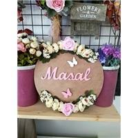 Çiçekli Kişiye Özel Ahşap Kapı Süsü 2