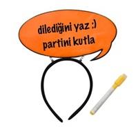 Konuşma Balonlu Turuncu Parti Taç