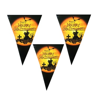 Cadılar Bayramı Halloween Cadı Evi Üçgen Bayrak