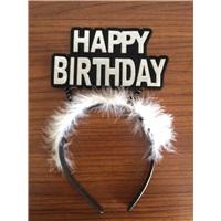 Beyaz Tüylü Happy Birthday Doğum Günü Taçı