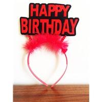 Kırmızı Tüylü Happy Birthday Doğum Günü Taçı