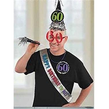 60 Yaş Doğum Günü Kutlama Seti Gözlük Şapka Kanat