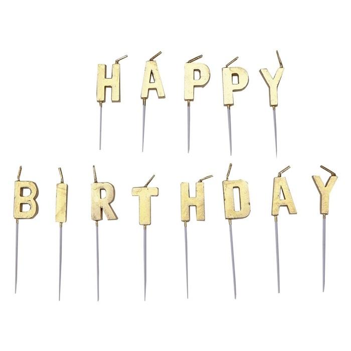 Gold Happy Birthday Doğum Günü Mumu
