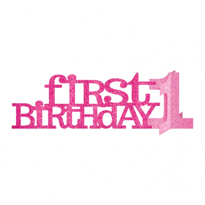 1 Yaş Doğum Günü Pırıltılı Pembe Dekoratif Süs