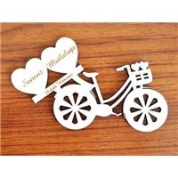 Kişiye Özel Ahşap Bisiklet Beyaz Sonsuz Mutluluğa