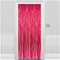 Kırmızı Parlak Püsküllü Kapı Perdesi