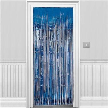 Lacivert Parlak Püsküllü Kapı Perdesi