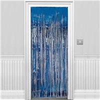 Mavi Parlak Püsküllü Kapı Perdesi