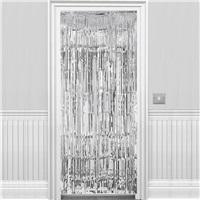 Gümüş Parlak Püsküllü Kapı Perdesi