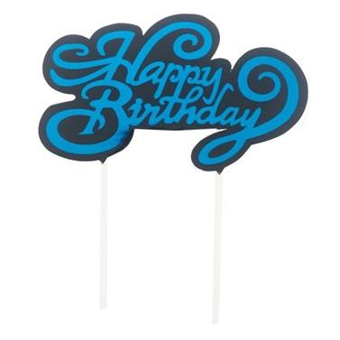 Happy Birthday Mavi Renkli Pasta Süsü