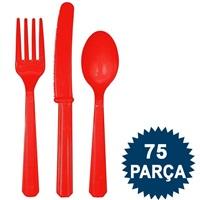 Kırmızı Plastik Çatal Bıçak Kaşık Seti
