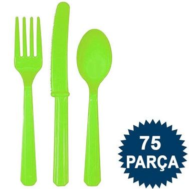 Yeşil Renkli Çatal Bıçak Kaşık Seti