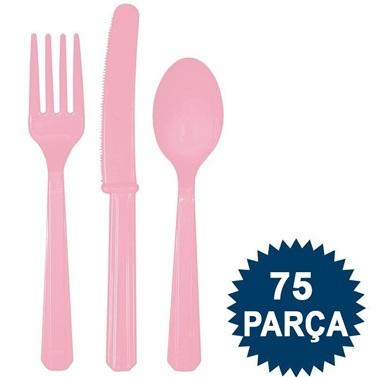 Pembe Renkli Plastik Çatal Kaşık Bıçak Seti