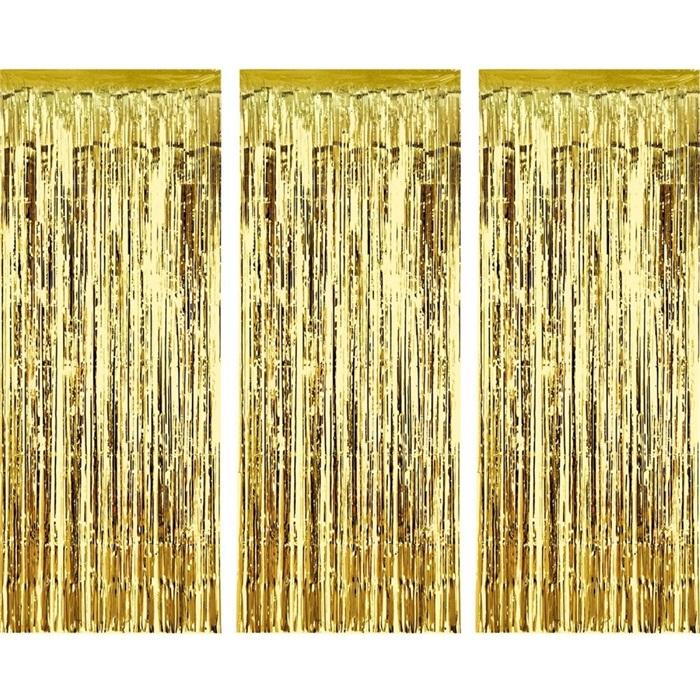 Altın Renkli Parlak Püsküllü Kapı Perdesi