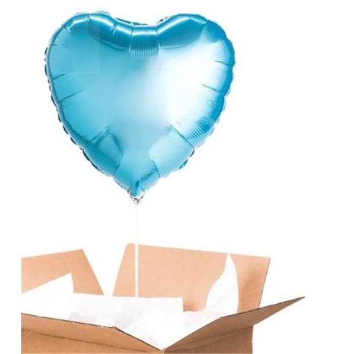 Sevgiliye Sürpriz Turkuaz Kalp Folyo Balon 60 Cm