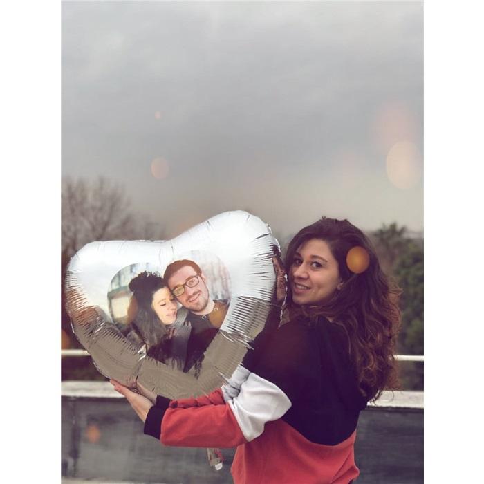 Sevgiliye Özel Altın Kalp Uçan Balon