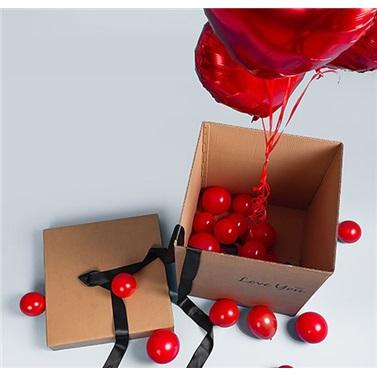 Sevgiliye Özel Altın Kalp Uçan Balon 60 Cm