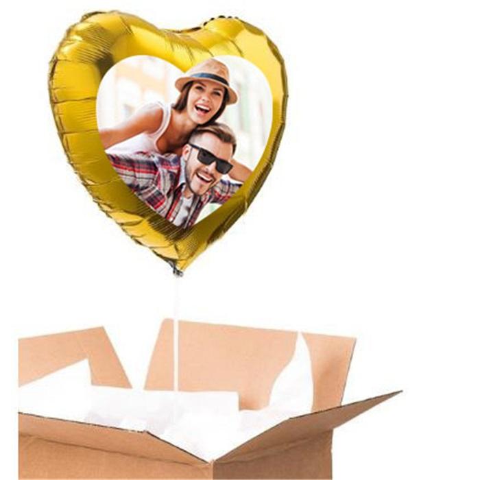 Sevgiliye Özel Altın Kalp Uçan Balon 90 Cm