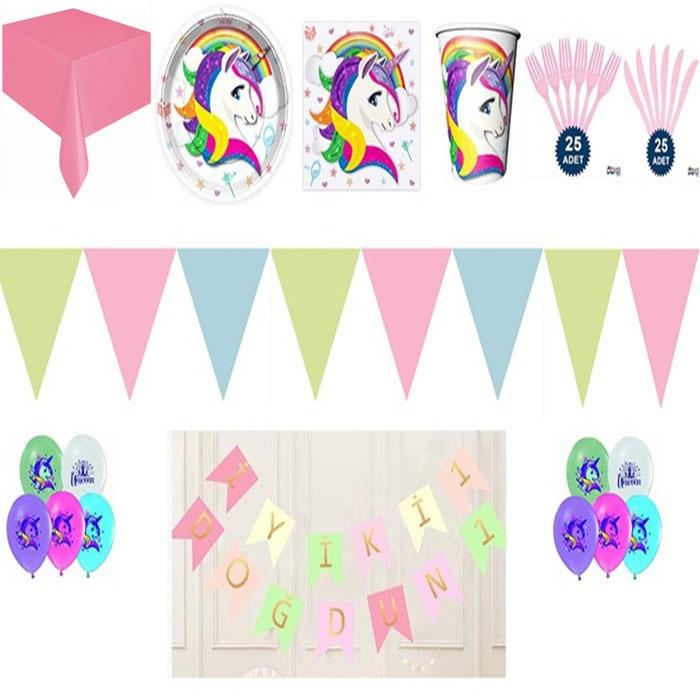 Unicorn Doğum Günü Temalı Parti Seti