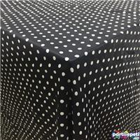 Kumaş Siyah Üzerine Beyaz Puanlı Masa Örtüsü