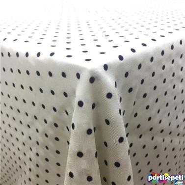 Kumaş Beyaz Üzerine Siyah Puanlı Masa Örtüsü