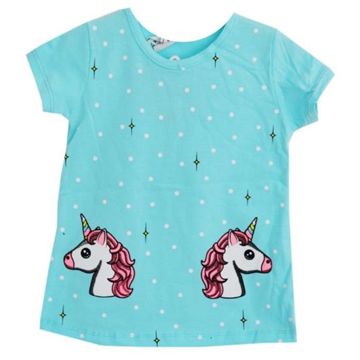 Unicorn Mavi Yazlık Tişört Eşofman Takımı