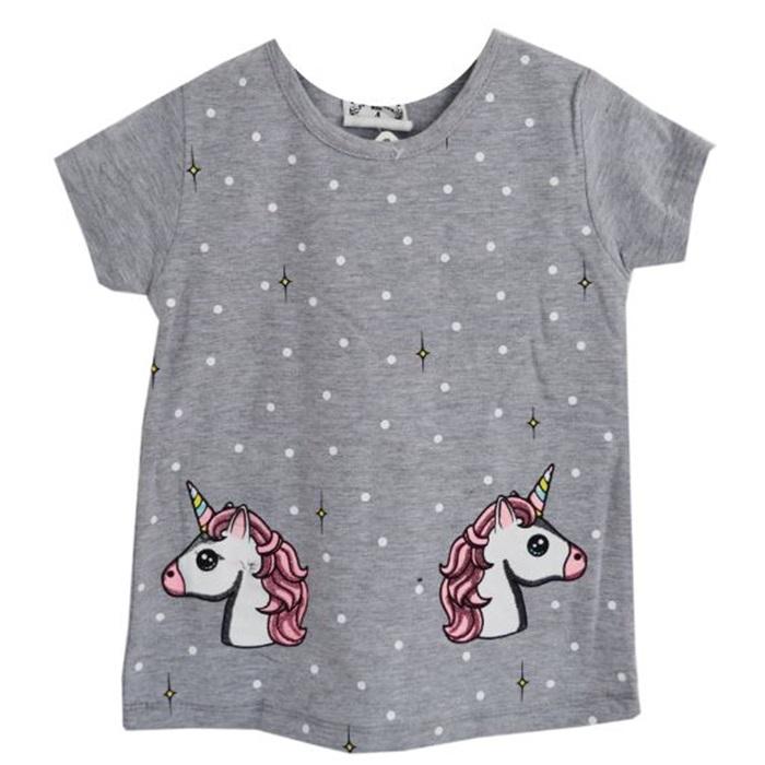 Unicorn Gri Yazlık Tişört Eşofman Takımı