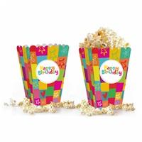 Renkli Happy Birthday Popcorn Kutusu