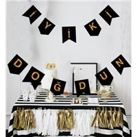 Gold Siyah İyi Ki Doğdun Yazı Banner