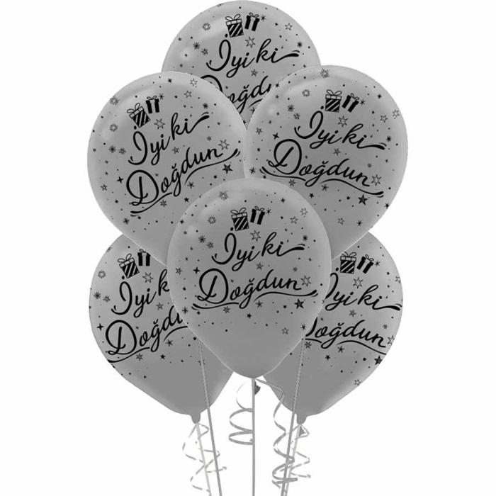 Gümüş İyi Ki Doğdun Latex Balon