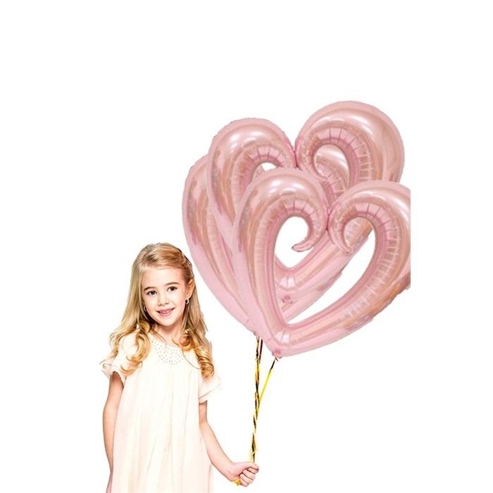 Rose Renkli Kalp Folyo Balon