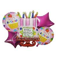 Pembe Happy Birthday Folyo Balon Seti