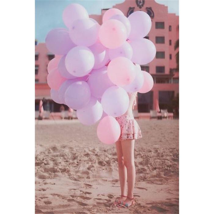 Makaron Pastel Soft Balon Pembe Renkli