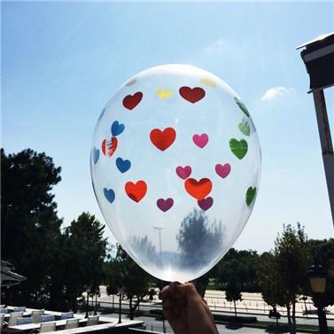 Şeffaf Renkli Kalp Balon