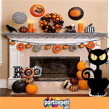Cadılar Bayramı Kedi Ayaklı Pano