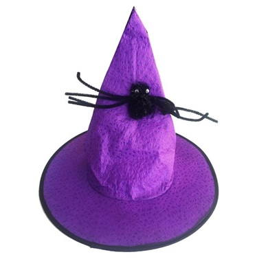 Cadilar Bayramı Mor Örümcekli Cadı Şapka