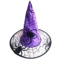Cadılar Bayramı Örümcek Ağı Mor Şapka