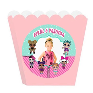 Lol Bebekler Kişiye Özel Popcorn Kutusu