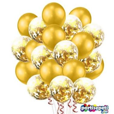 Şeffaf Gold Konfetili Balon Seti