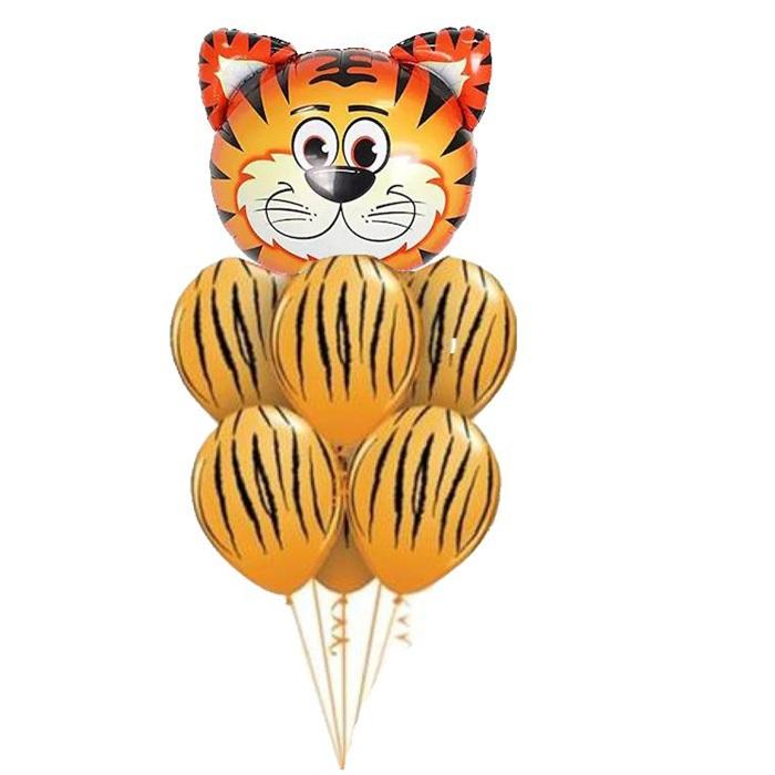 Safari Turuncu Zebralı Kaplan Balon Seti