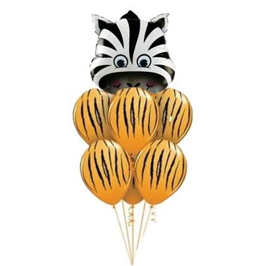 Safari Turuncu Balonlu Zebra Balon Seti